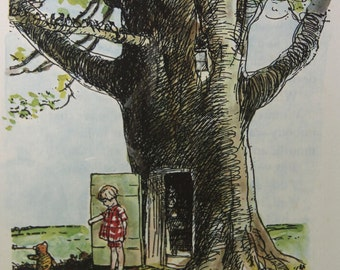 """Christopher Robin and the Tree - Vintage print from """"Winnie the Pooh and Some Bees"""" by A.A. Milne, c.1975"""