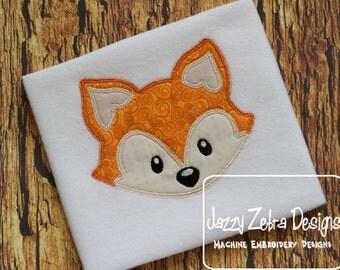 Fox Head 15 Appliqué embroidery design with Square Diagonal Stitching - fox appliqué design