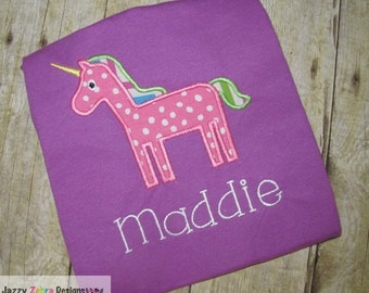 Unicorn Applique embroidery Design - unicorn Applique Design - girl Applique Design
