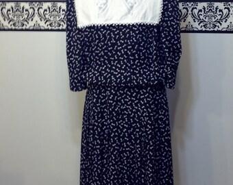 80's does 50's Blue Ribbon Secretary Dress by Liz Roberts Inc, Vintage 1960's Style Day Dress, Medium ,  Rockabilly, Hipster Style