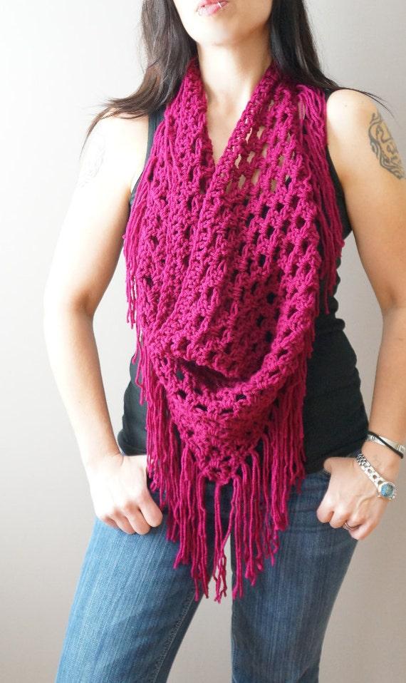 Crochet Infinity Scarf With Fringe Pattern : Items similar to Jerez ? Fringe Triangle Scarf / Infinity ...