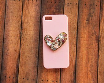 Crystal Heart iPhone 5 Case Rhinestone iPhone 5c Pink Adorable Cases Cute Gift Ideas for Birthday iPhone 5c Pink Case iPhone 4 Pink Heart