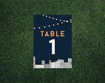 Skyline Light Garland Table Number // Printed Sets // Wedding Decor, Cityscape Wedding, Light Garland Wedding