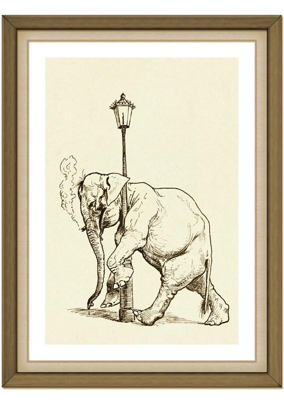Whimsical Elephant Illustration 9 - Vintage - Sepia - Brown - Art    Vintage Elephant Illustration