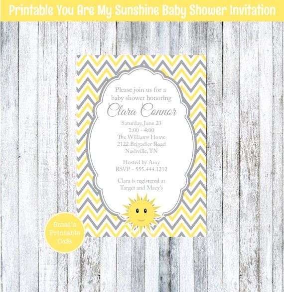 You Are My Sunshine Baby Shower Invites with adorable invitation layout