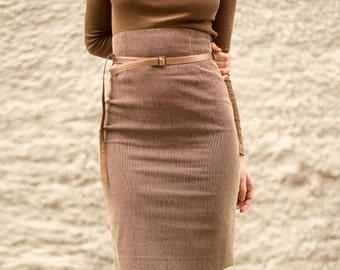 Pencil skirt High waist skirt Corduroy skirt Brown skirt Knee skirt