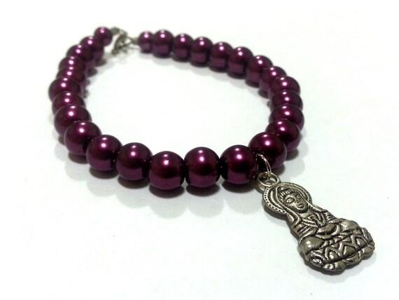 8 inch hindu charm bracelet burgandy pearl by