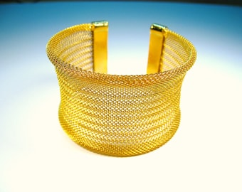 Ladies Gold-Colored Woven Fashion Cuff Bracelet
