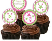 """Girls Birthday Party Circles Pink/Green Cupcake Toppers 2"""" INSTANT DOWNLOAD Decorations Banner Invite Paper Personalized Chevron Digital PDF"""