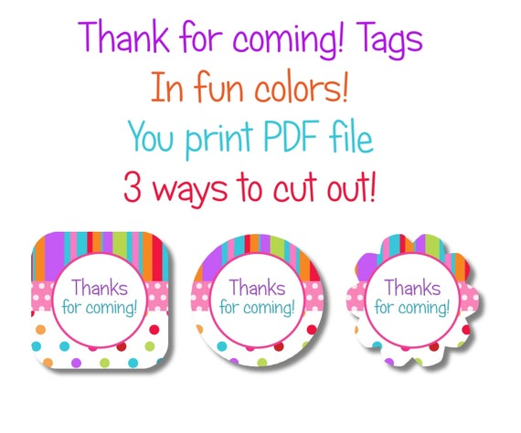 fun rainbow colors thank you tags thanks for coming printable