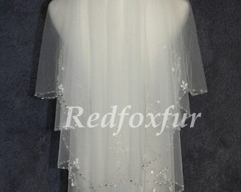 wedding veil Crystal Pearl edged Bridal Veil White Elbow length with beaded comb ,Wedding headdress mantilla veil