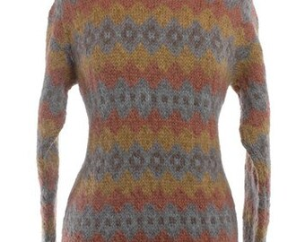 Vintage 1970's Zig Zag Wool Jumper 12 & Below - www.brickvintage.com
