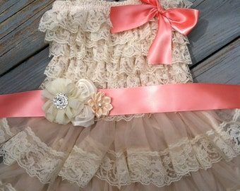 Rustic Flower Girl Dress/Rustic Flower Girl Outfit/Wheat Cream Flowergirl/Country Wedding-Coral Flower Girl-Choose Ribbon Color
