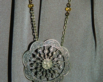Handmade One of a Kind Antiqued Copper Necklace with Citrine and Copper Colored Beads, Featuring a large Vintage Button