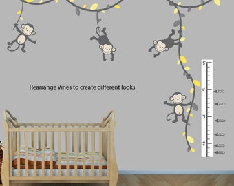 Monkey Wall Decals, Monkeys on Vines, Monkey Wall Stickers for Nursery or Girls Room ( GrayYellow ), (91_MB91_MF89_86_55_76_Growth), MVDG