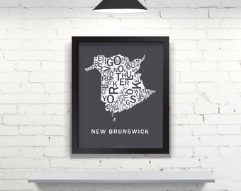 Far Sky New Brunswick Typographic Map