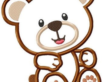 Teddy Bear Machine Embroidery Applique Design 4 SIZES