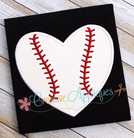 Baseball Softball Heart Machine Embroidery Applique Design 4