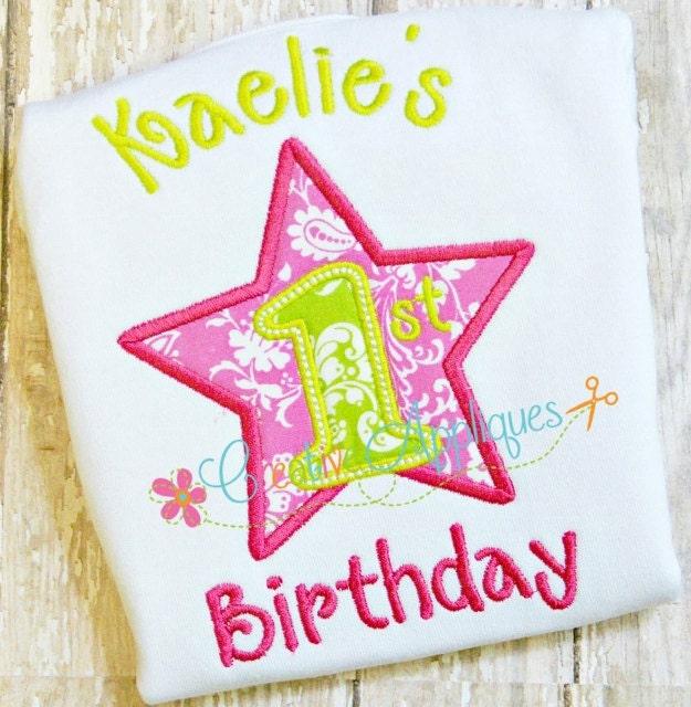 First 1st Birthday Star Digital Machine Embroidery Applique