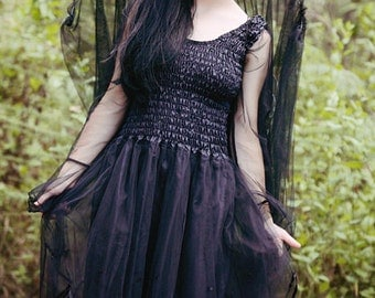 New Adult  Black Fairy Dress ~Gothic ~ Faerie Costume ~ Punk ~ Rock  Retro ~ Goddess ~ Medieval