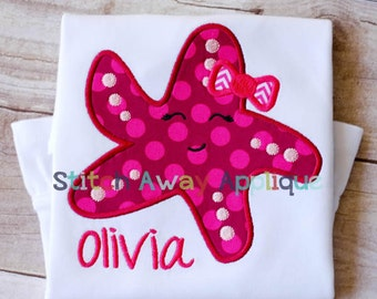 Girl Starfish Machine Applique Design