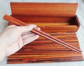 One set of 10 Pairs of Rosewood Chopsticks with Rosewood Case