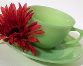 Vintage Fire King Jadeite Green Cup and Plate Set Alice Pattern - RenewedFinds