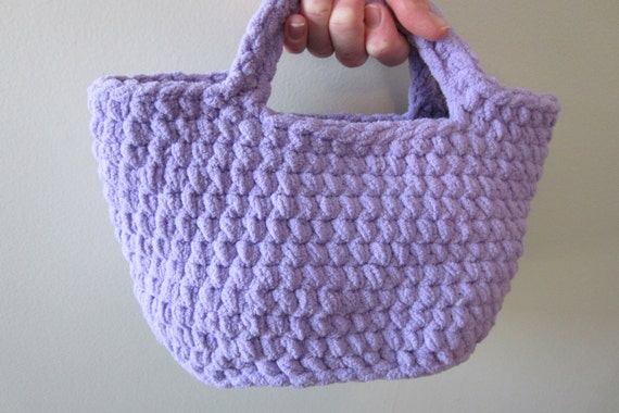 Crochet Lunch Bag : Crocheted Handbag or Small Purse, Reuseable Lunch Bag, Makeup Basket ...