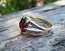 Red Garnet Ring, statement ring, large gem, natural gem, feather ring, leaf ring, regal ring, organic, medieval,  knights ring, ExquisiteGem