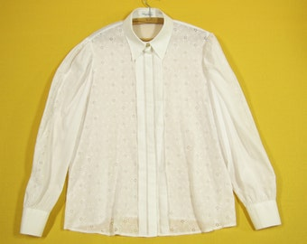 Vintage Embroidered White Blouse Button up Long Sleeve Cotton Shirt Secretary Extra Large Size