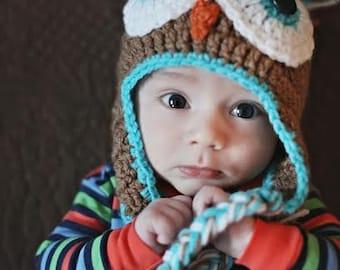 Baby Crochet Owl Hat, Owl Beanie Baby Boy owl hat baby owl hat crochet owl hat Brown Turquoise Owl Hat