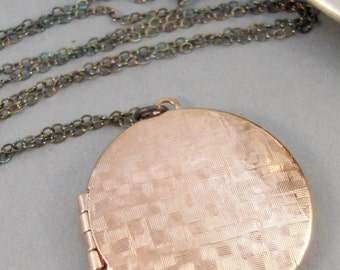 Rose Gold Locket,Rose Gold Necklace,Necklace,Locket,Oxidized,Dark Chain,Sterling Silver Necklace,Gold Necklace,Fine Jewelry,Pyrite,Gemstone.