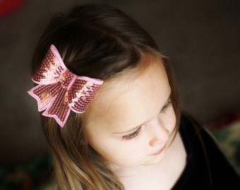 pink sequin baby hair bow/baby girl hair bow,baby hairbow, baby bow, hair bow, hairbow