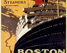 Cunard Ocean Line Boston to Europe Art Deco Ship Vintage Travel Transportation Poster Ad Giclee Art Print With Stretched Canvas Option