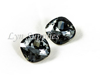 12mm 4470 SILVER NIGHT Swarovski Crystal Cushion Cut Fancy Stone, Dark Grey