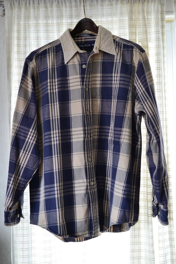Nautica Men 39 S Heavy Flannel Shirt M Vintage By