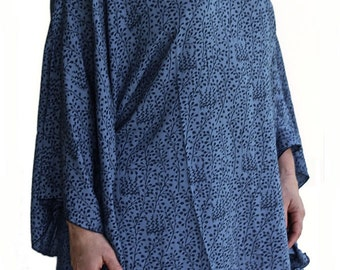 Plus Size Women's Poncho | Big Sleeve Poncho Tunic Top | Women's Tunic Top Clothes, Oversized Navy Blue Caftan Top | XL 1X 2X 3X