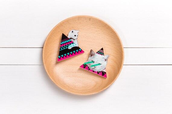 Pyramid Cat Character acrylic brooch
