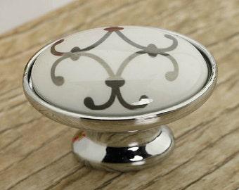 dresser knobs drawer knobs pulls handles ceramic knobs cabinet knobs white silver antique
