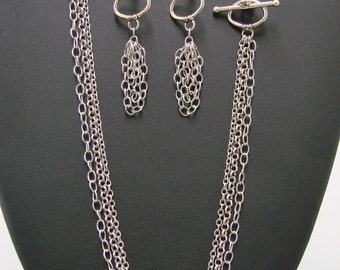 Three-Strand Necklace and Earrings