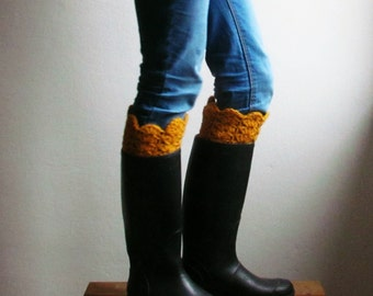 Woman Boot cuff / mustard yellow boot socks / Rustic clothing / Knit boot topper cuff / CHOOSE YOUR COLOR