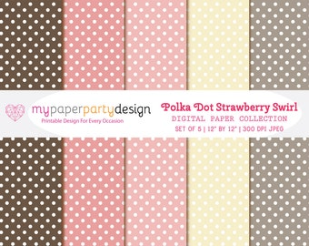 Polka Dot Strawberry Swirl- Digital Paper Pack- 5 jpeg- Pink,Brown,Gray- For Invites, Cards,Tags, Scrapbooking- Instant Download & Printable