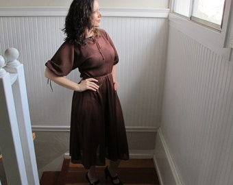 Vintage 70s PHASE II Mocha Chocolate Brown Sheer Pleated Top Billowy Sleeve Disco Dress