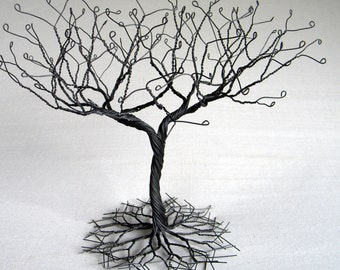 """Black large """"Earring""""  Tree Stand,  wire tree sculpture.  perfect for necklaces , earrings ,  rings . display holder tree , organizer. #2"""