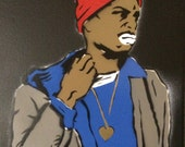 Tyrone Biggums stencil spray painted on canvas