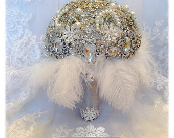 BROOCH BOUQUET. The Great Gatsby Art Deco THEME. Deposit on Vintage Draping Diamond Crystal Pearl Feather Brooch Bouquet