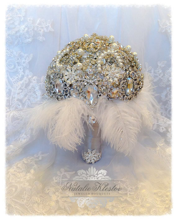 The Great Gatsby Brooch Bouquet.Deposit on Vintage Diamond Jeweled Crystal Pearl Feather Brooch Bouquet.Broach Bouquet with dangling jewelry
