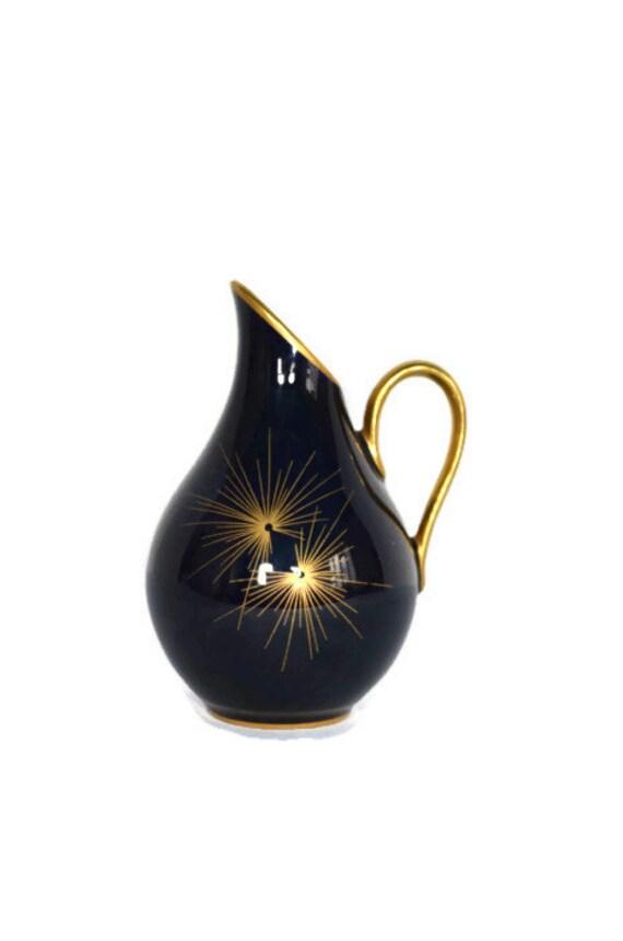 1950s echt kobalt oca bavaria porcelain mini squat pitcher. Black Bedroom Furniture Sets. Home Design Ideas