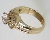 14k Diamond engagement ring 1.15 carat yellow gold  free ship. m107534.