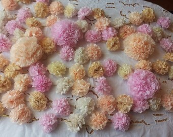 Tissue Paper Flower Garland,Light pink, peach, ivory, gold,gold twine,wedding garland, party garland, wedding decor,custom garland, Romantic
